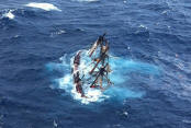 hms bounty submerged in the atlantic ocean