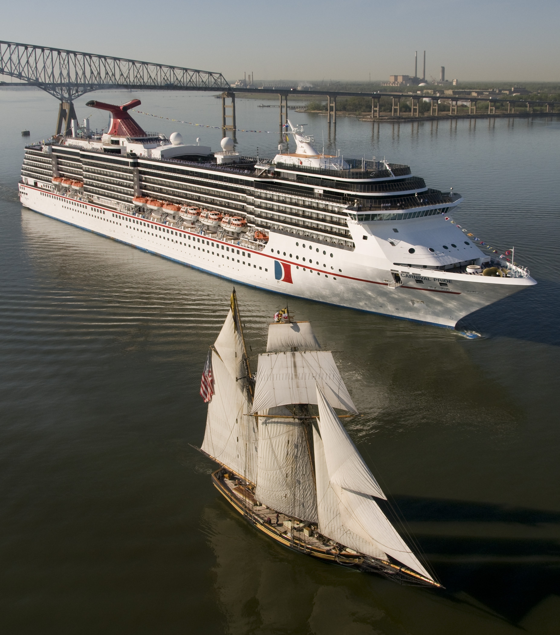 Carnival Pride sails the Port of Baltimore. Cruise ship.